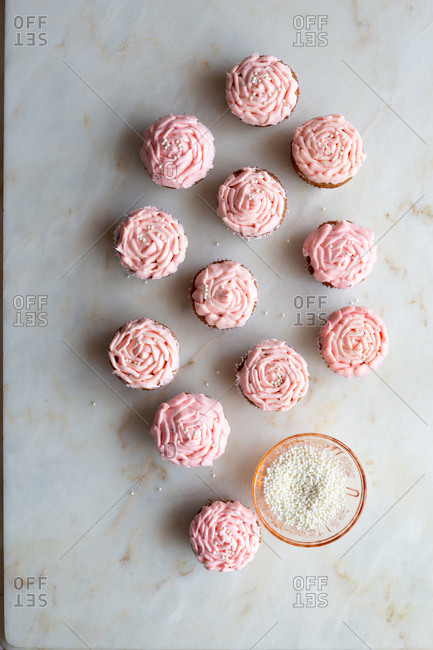 Pink cupcakes with decorations