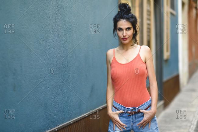 Fashionable woman looking at camera wearing casual clothes