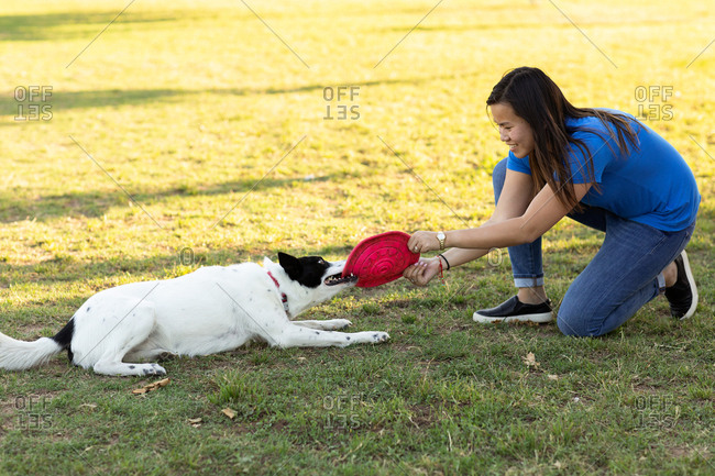 Woman playing toy disc with her dog