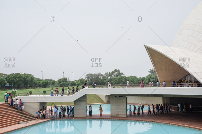 New Delhi, India - August 4, 2017: Tourists at the Lotus Temple