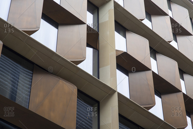 Detail of exterior windows on contemporary building
