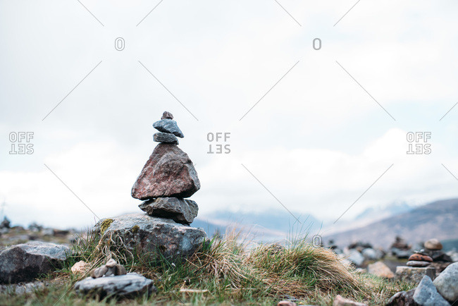 Cairns, piles of rocks in the Scottish Highlands