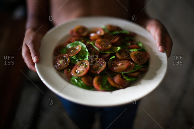 Child holding plate full of lettuce and tomatoes