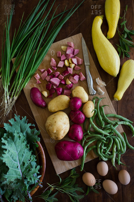 Fresh picked veggies on a cutting board