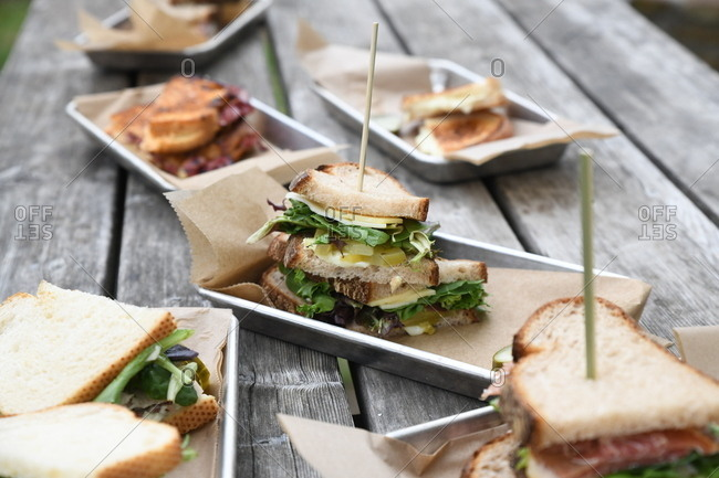Variety of sandwiches served on a picnic table