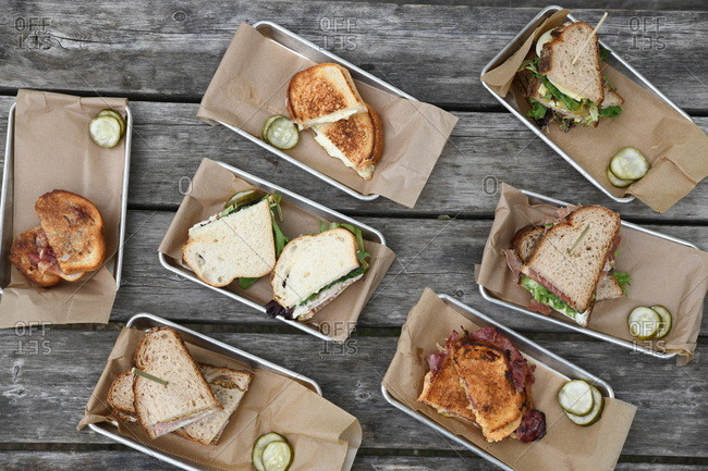 Overhead view of a variety of sandwiches served on a picnic table