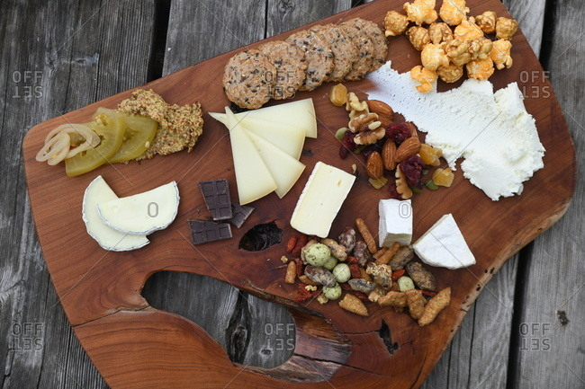 Overhead view of a variety of snacks on a platter