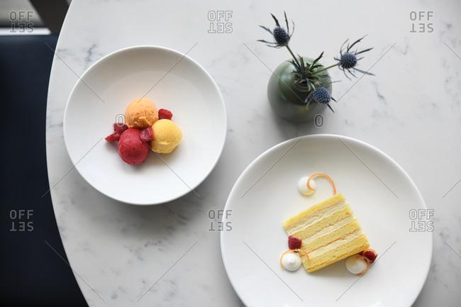 Slice of cake and sorbet
