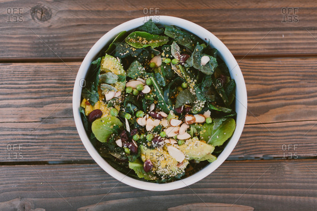 Garden salad on a wooden table