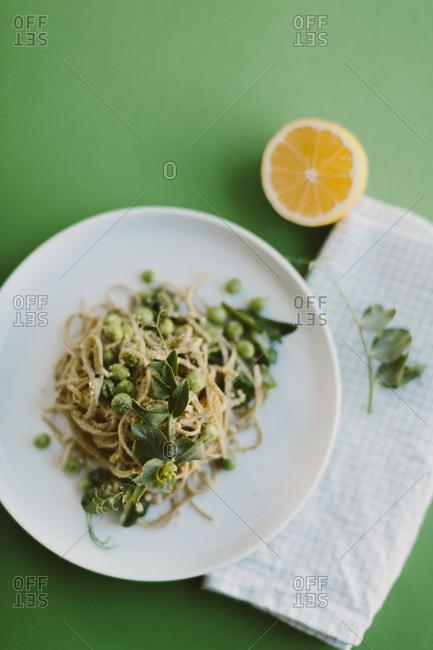Vegetarian pasta dish with peas