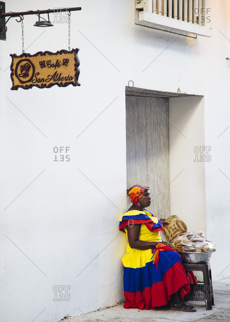 "Cartagena de Indias, Colombia - February 5, 2018: ""Palenquera"" fruit seller"
