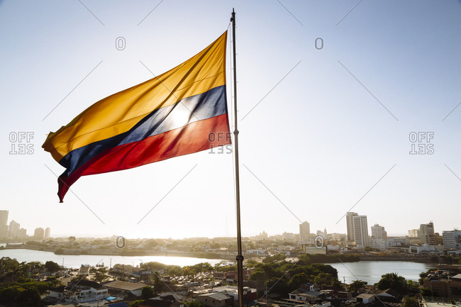 Cartagena de Indias, Colombia - February 8, 2018: Skyline of Cartagena with a view over the skyscrapers of Bocagrande, seen from the San Felipe de Barajas Castle