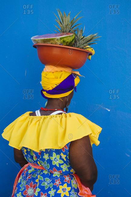 "Fruit seller ""Palenquera"", Cartagena de Indias, Colombia"