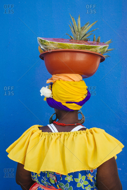 """Palenquera"" fruit seller, Cartagena de Indias, Colombia"
