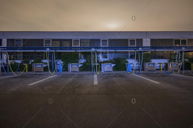 Munich, Bavaria - April 23, 2018: A car wash parking lot at dusk
