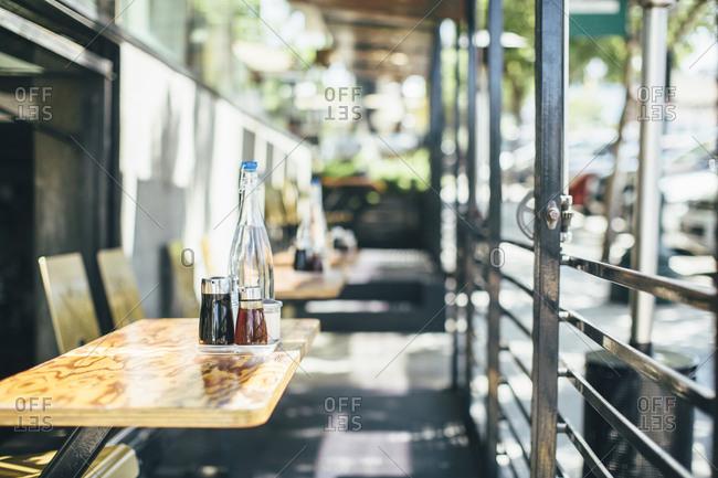 Empty restaurant outdoor seating area