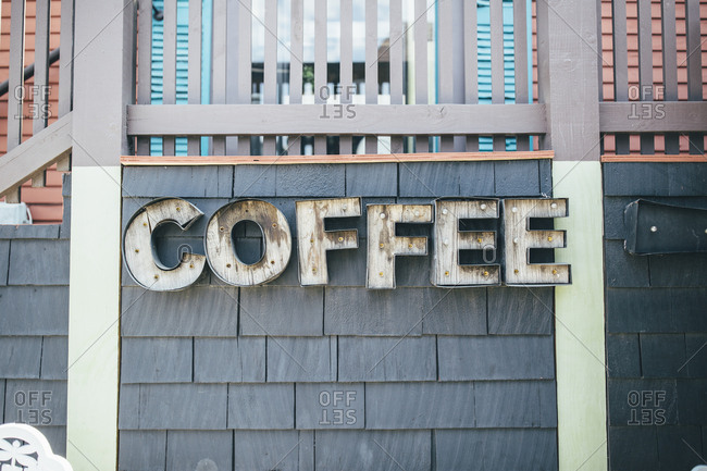 Quirky exterior coffee shop signage