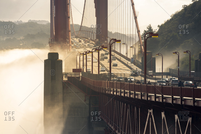 San Francisco, CA, USA - January 26, 2018: Golden Gate Bridge and fog