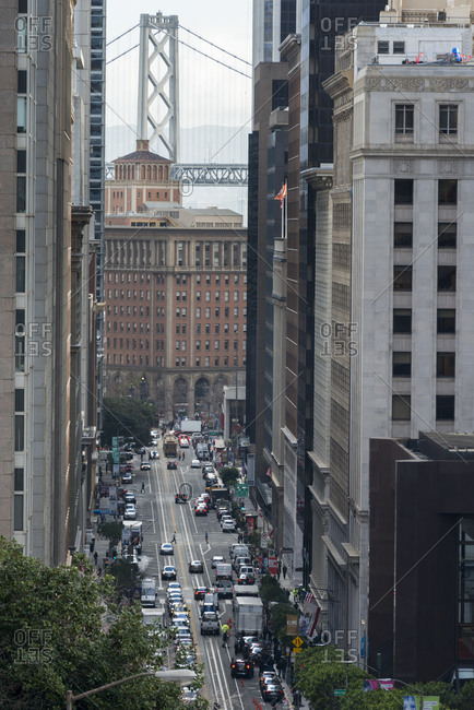 San Francisco, CA, USA - January 25, 2018: California Street with Bay Bridge in the background