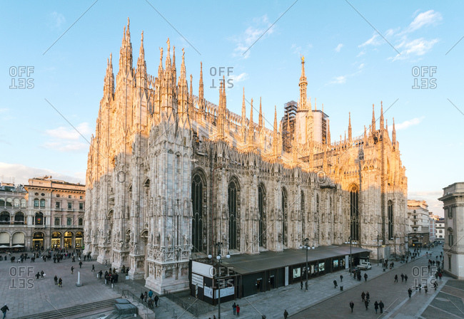 Milan, Italy - January 22, 2018: Galleria Vittorio Emanuele II and the Cathedral at Piazza del Duomo
