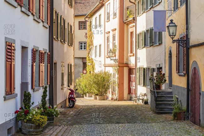 Bregenz, Vorarlberg, Austria - September 24, 2017: Upper city, alley and row of old houses