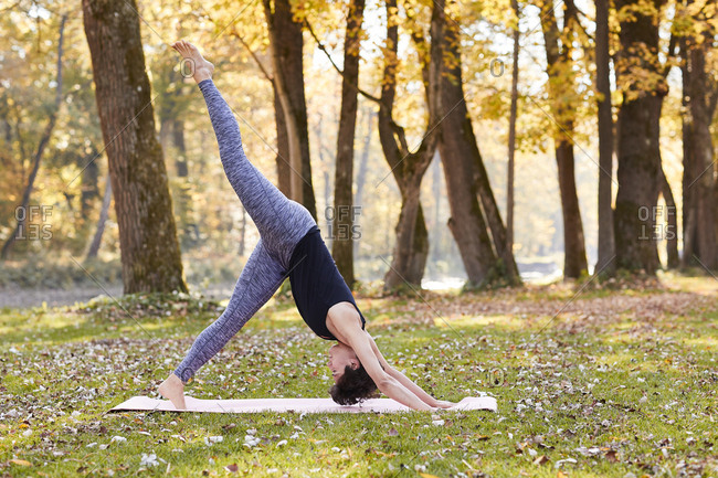 Mid adult woman in forest practicing yoga- downward facing dog position