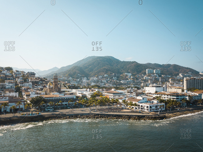 Mexico- Jalisco- Puerto Vallarta- Old town- Church of Our Lady of Guadalupe and El Malecon boardwalk