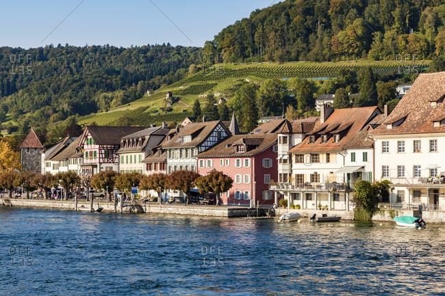 Switzerland- Canton of Schaffhausen- Stein am Rhein- Lake Constance- Rhine river- Old town- waterfront promenade