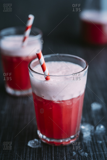 Drink: Switchel- drink with ginger- apple vinegar- coconut water- cranberry juice- lemon- crushed ice- honey