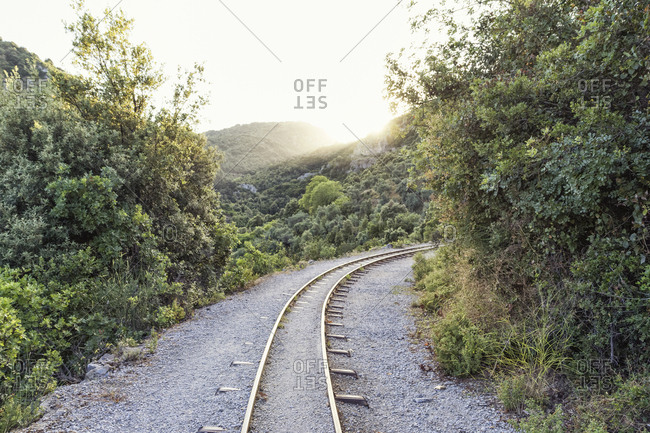 Greece- Pilion- Milies- rails of Narrow Gauge Railway