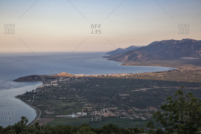 Greece- Peloponnese- Arcadia- Paralia Astros- View to Paralia Astros and fertile plain of Astros in the evening