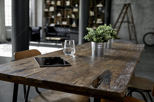Tablet on table in loft flat