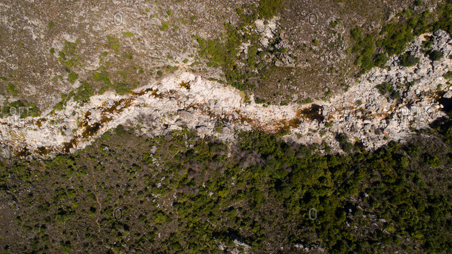 Aerial views over the Bainskloof pass in the Boland region in the western cape of South Africa