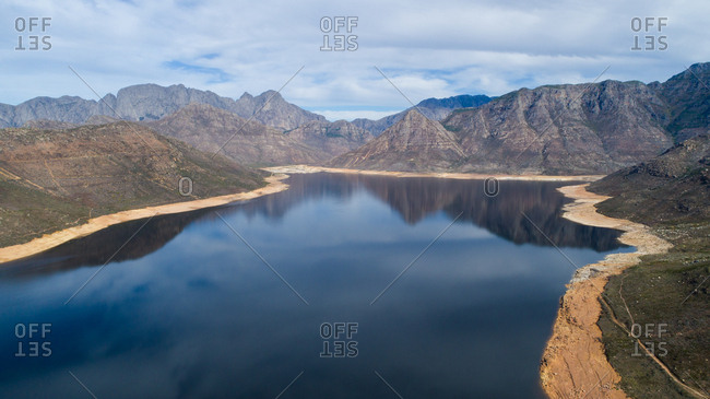 Aerial view over the Bergriver dam in the Bergriver outside Franschhoek in the Western Cape during the worst drought in decades in South Africa