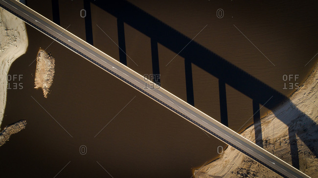 Aerial image over a very dry Theewaterskloof dam with massive patches of barren earth exposed, South Africa