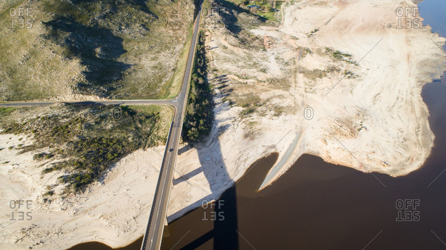 Aerial image over a dry Theewaterskloof dam during the worst drought in decades, South Africa