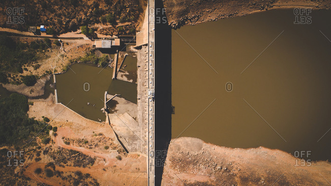 Dry Clanwilliam dam in the Western Cape of South Africa during the worst drought in decades
