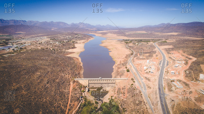 Clanwilliam dam in the Western Cape of South Africa during the worst drought in decades