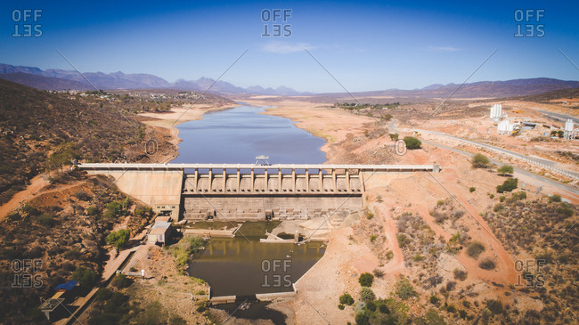 Aerial view over the very dry Clanwilliam dam in the Western Cape, South Africa