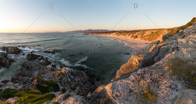 Panoramic landscape views over the Walkerbay Nature Reserve near Gansbaai, South Africa