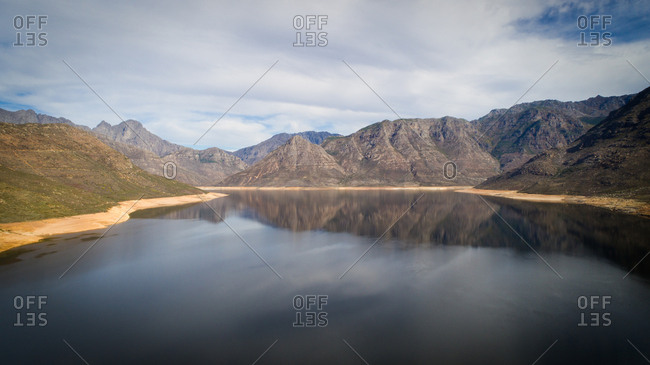 Bergriver dam in the Bergriver outside Franschhoek in the Western Cape during the worst drought in decades in South Africa