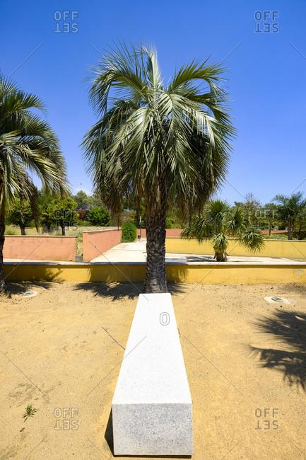 Benches and tree in a public municipal botanical park, Salou, Costa Dorada, Catalonia Spain
