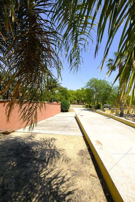 Path in a public municipal botanical park, Salou, Costa Dorada, Catalonia Spain