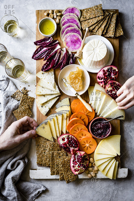 Cheese, vegetables and fruit savory board