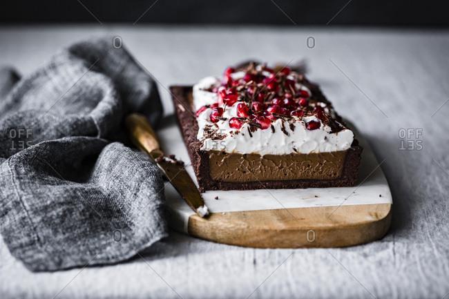 Chocolate pomegranate cream vegan tart