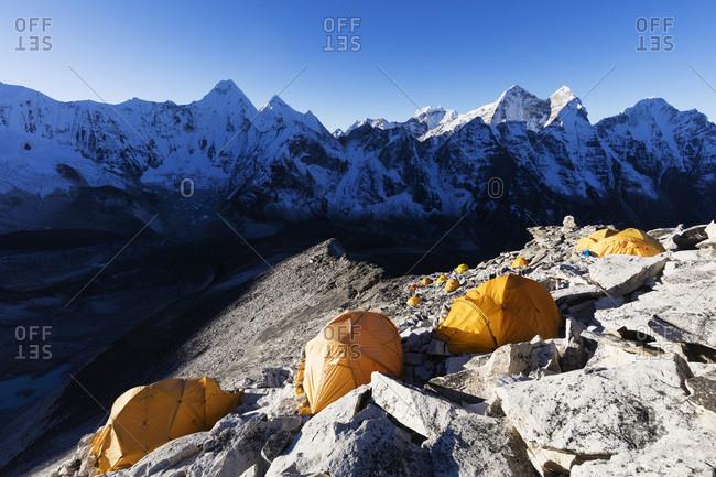 October 23, 2017: Camp 1 on Ama Dablam, Sagarmatha National Park, UNESCO World Heritage Site, Khumbu Valley, Nepal, Himalayas, Asia