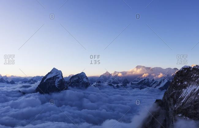 View of Toboche, 6495m, from Ama Dablam, Sagarmatha National Park, UNESCO World Heritage Site, Khumbu Valley, Nepal, Himalayas, Asia