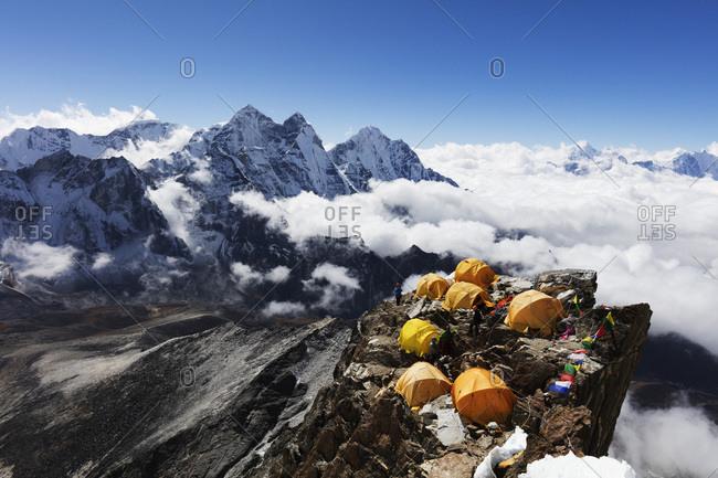 October 23, 2017: Camp 2 on Ama Dablam, Sagarmatha National Park, UNESCO World Heritage Site, Khumbu Valley, Nepal, Himalayas, Asia