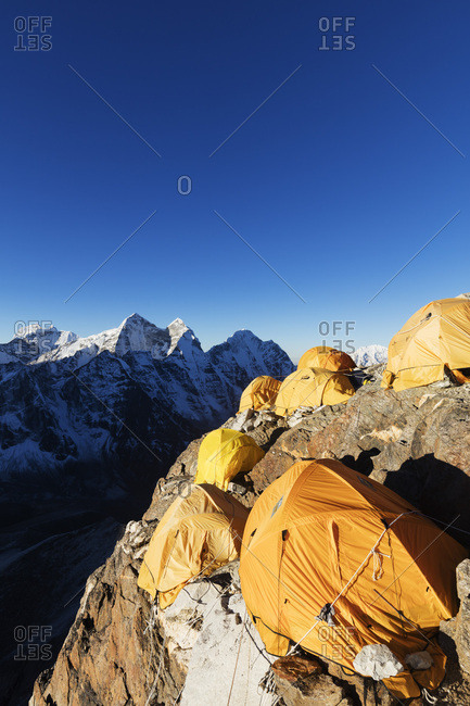 October 25, 2017: Camp 2 on Ama Dablam, Sagarmatha National Park, UNESCO World Heritage Site, Khumbu Valley, Nepal, Himalayas, Asia