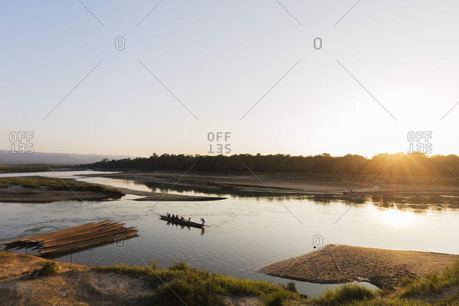 Tour boat on a river trip, Chitwan National Park, UNESCO World Heritage Site, Nepal, Asia
